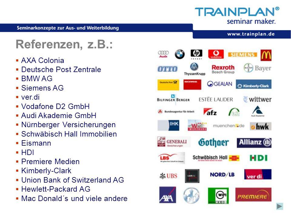 Folie 9 ©TRAINPLAN ® 2006 Referenzen, z.B.:  AXA Colonia  Deutsche Post Zentrale  BMW AG  Siemens AG  ver.di  Vodafone D2 GmbH  Audi Akademie G