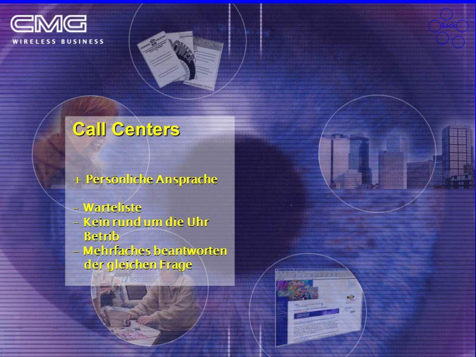 Back Call Centers + Persönliche Ansprache - Warteliste - Kein rund um die Uhr Betrib Betrib - Mehrfaches beantworten der gleichen Frage der gleichen Frage