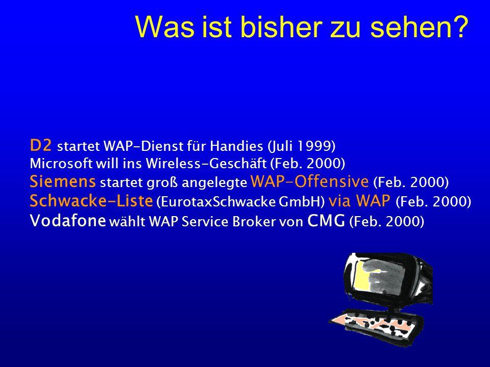 D2 startet WAP-Dienst für Handies (Juli 1999) Microsoft will ins Wireless-Geschäft (Feb.