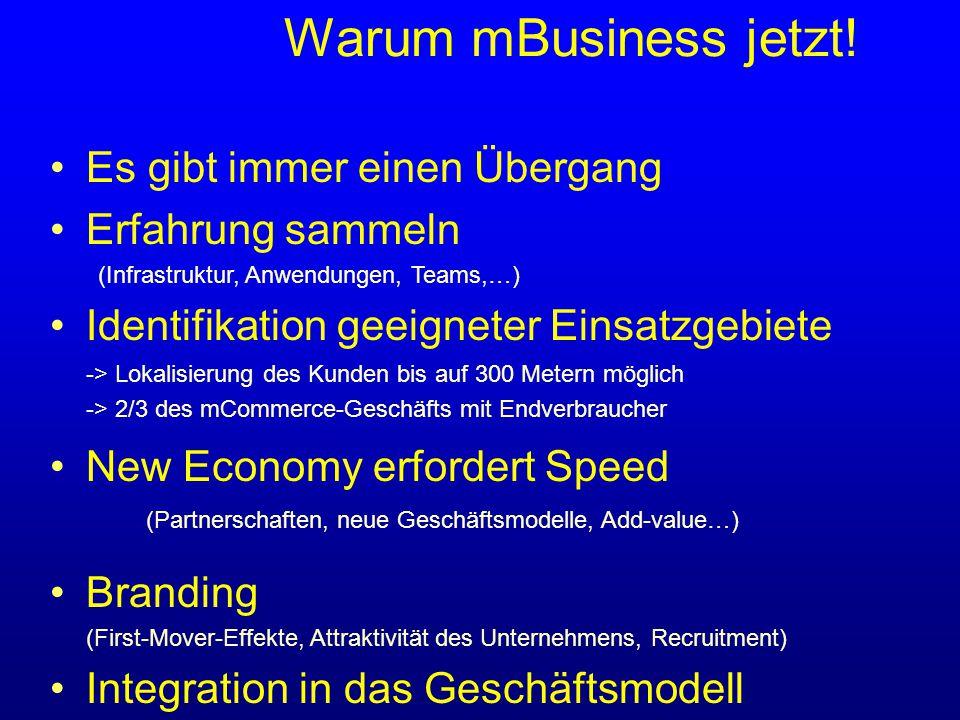 Es gibt immer einen Übergang Erfahrung sammeln (Infrastruktur, Anwendungen, Teams,…) Identifikation geeigneter Einsatzgebiete -> Lokalisierung des Kunden bis auf 300 Metern möglich -> 2/3 des mCommerce-Geschäfts mit Endverbraucher New Economy erfordert Speed (Partnerschaften, neue Geschäftsmodelle, Add-value…) Branding (First-Mover-Effekte, Attraktivität des Unternehmens, Recruitment) Integration in das Geschäftsmodell Warum mBusiness jetzt!