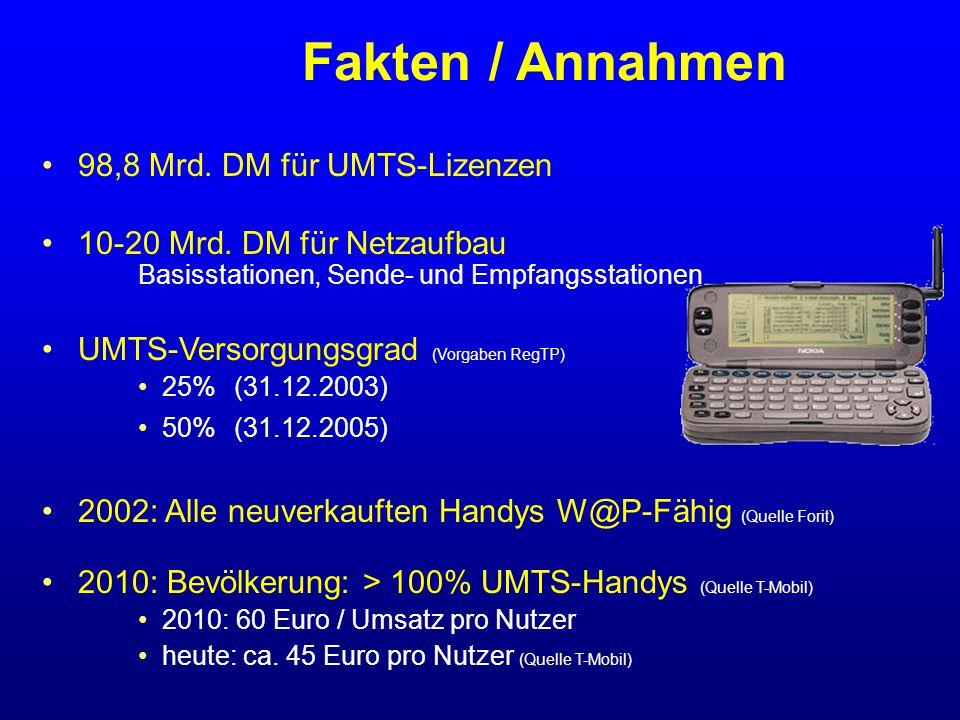 Fakten / Annahmen 98,8 Mrd. DM für UMTS-Lizenzen 10-20 Mrd.