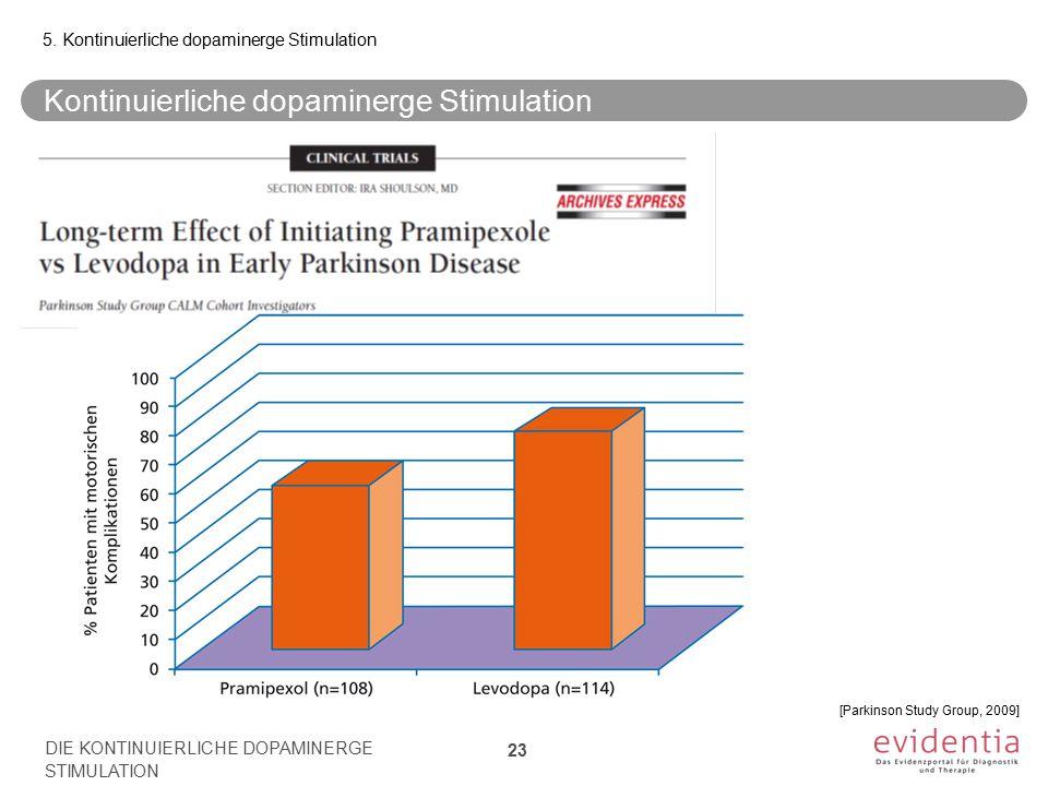 Kontinuierliche dopaminerge Stimulation 5. Kontinuierliche dopaminerge Stimulation DIE KONTINUIERLICHE DOPAMINERGE STIMULATION 23 [Parkinson Study Gro