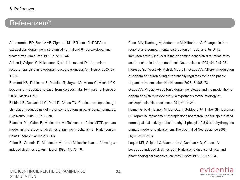 Referenzen/1 Abercrombie ED, Bonatz AE, Zigmond MJ. Eff ects of L-DOPA on extracellular dopamine in striatum of normal and 6-hydroxydopamine- treated