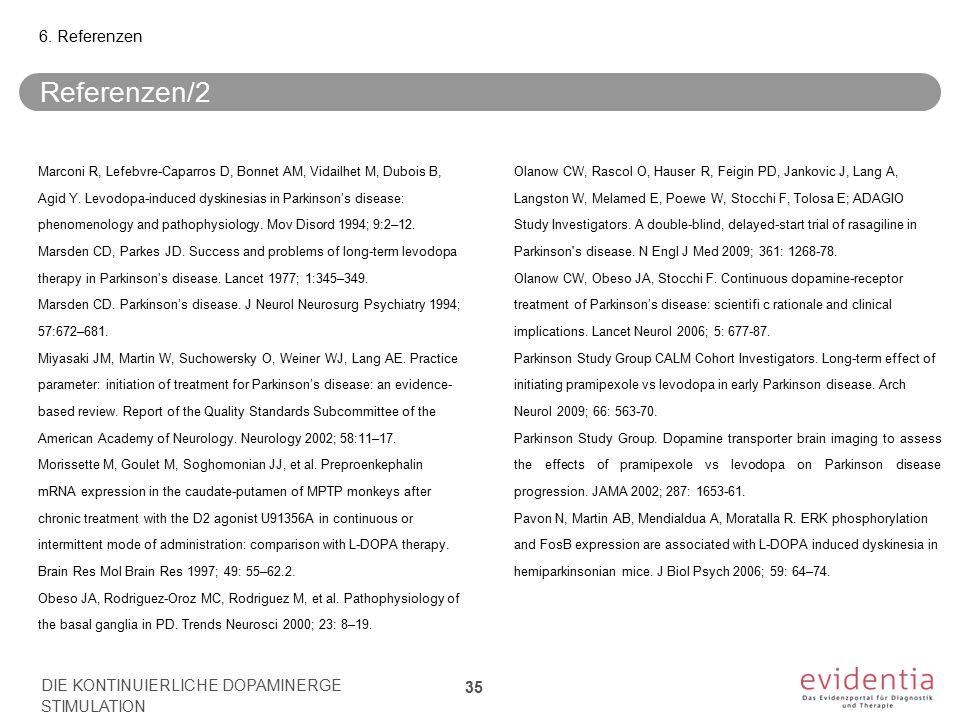 Referenzen/2 Marconi R, Lefebvre-Caparros D, Bonnet AM, Vidailhet M, Dubois B, Agid Y. Levodopa-induced dyskinesias in Parkinson's disease: phenomenol