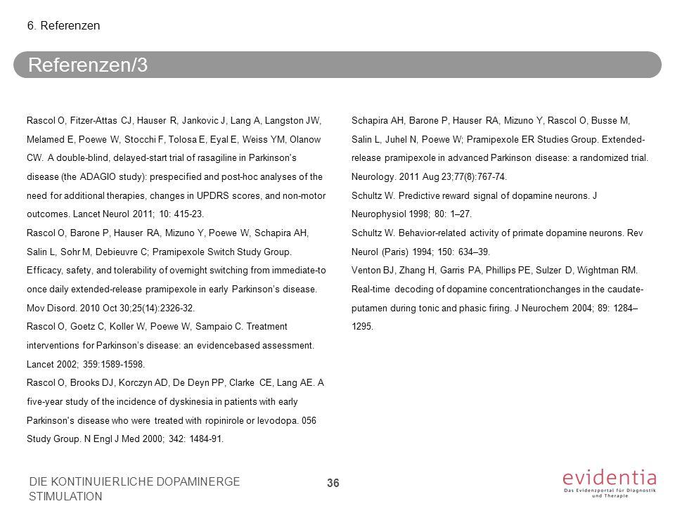 Referenzen/3 Rascol O, Fitzer-Attas CJ, Hauser R, Jankovic J, Lang A, Langston JW, Melamed E, Poewe W, Stocchi F, Tolosa E, Eyal E, Weiss YM, Olanow C