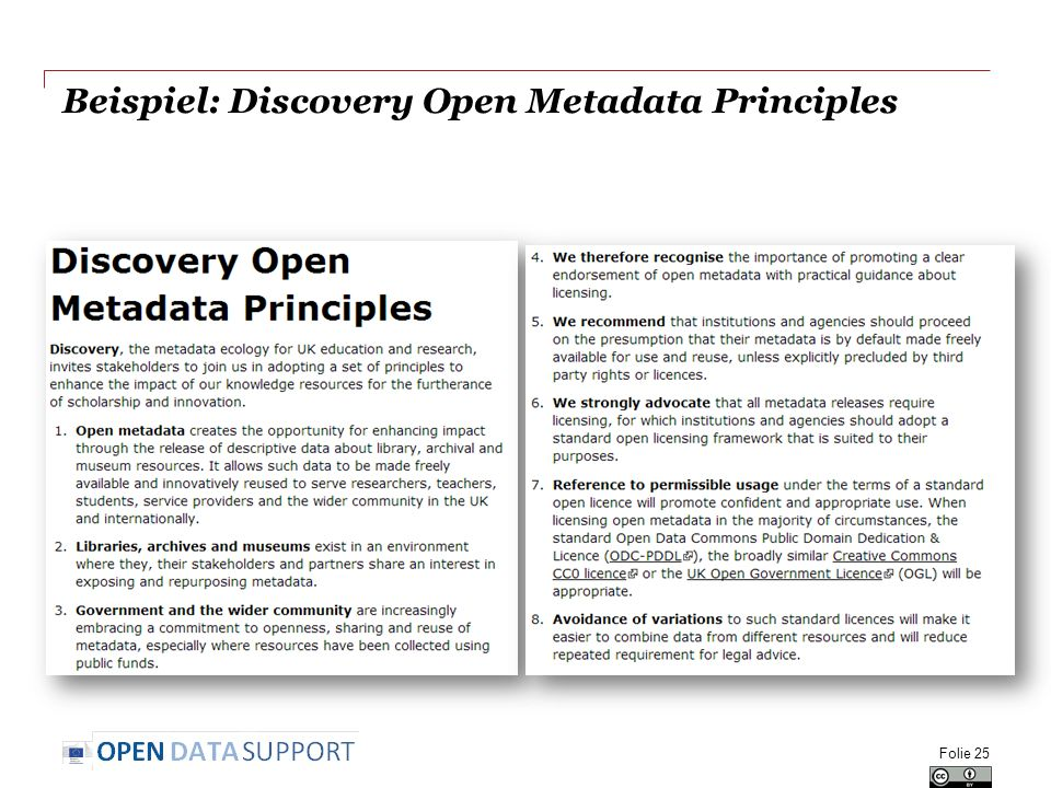 Beispiel: Discovery Open Metadata Principles Folie 25