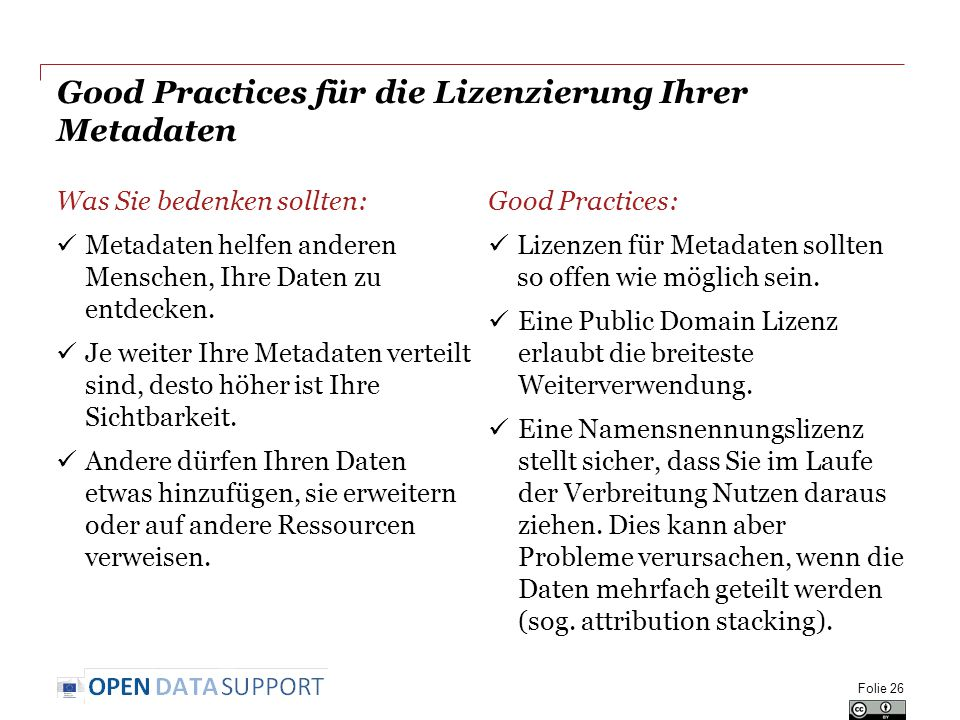 Good Practices für die Lizenzierung Ihrer Metadaten Was Sie bedenken sollten: Metadaten helfen anderen Menschen, Ihre Daten zu entdecken.