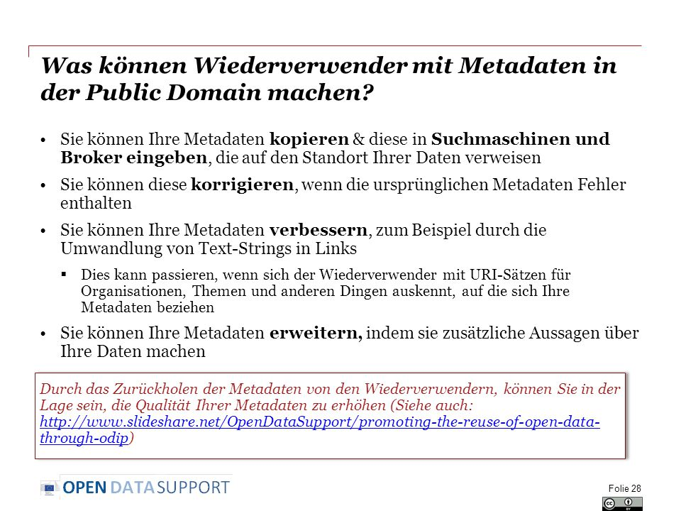 Was können Wiederverwender mit Metadaten in der Public Domain machen.