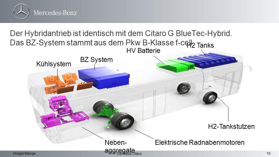 10 Der neue Citaro Holger Menge Elektrische Radnabenmotoren H2-Tankstutzen Neben- aggregate BZ System Kühlsystem HV Batterie H2 Tanks Der Hybridantrie