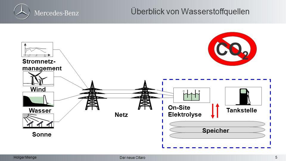 5 Der neue Citaro Holger Menge Überblick von Wasserstoffquellen Tankstelle Wind Stromnetz- management On-Site Elektrolyse Wasser Sonne 12 17 23 Netz S