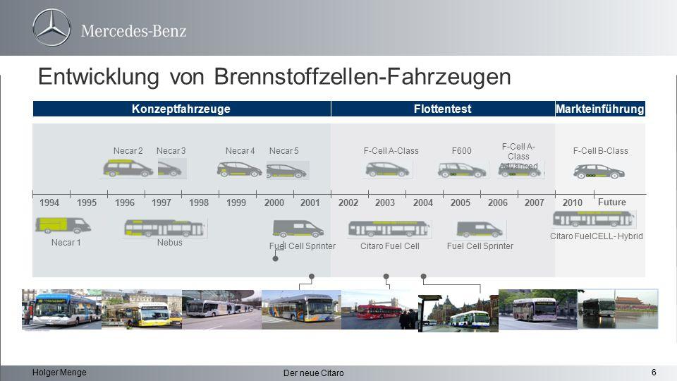 6 Der neue Citaro Holger Menge Entwicklung von Brennstoffzellen-Fahrzeugen Konzeptfahrzeuge 19941995199619971998199920002001200220032004200520062007 F