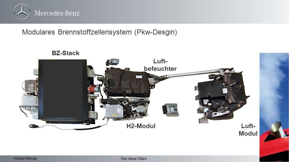 10 Der neue Citaro Holger Menge Elektrische Radnabenmotoren H2-Tankstutzen Neben- aggregate BZ System Kühlsystem HV Batterie H2 Tanks Der Hybridantrieb ist identisch mit dem Citaro G BlueTec-Hybrid.