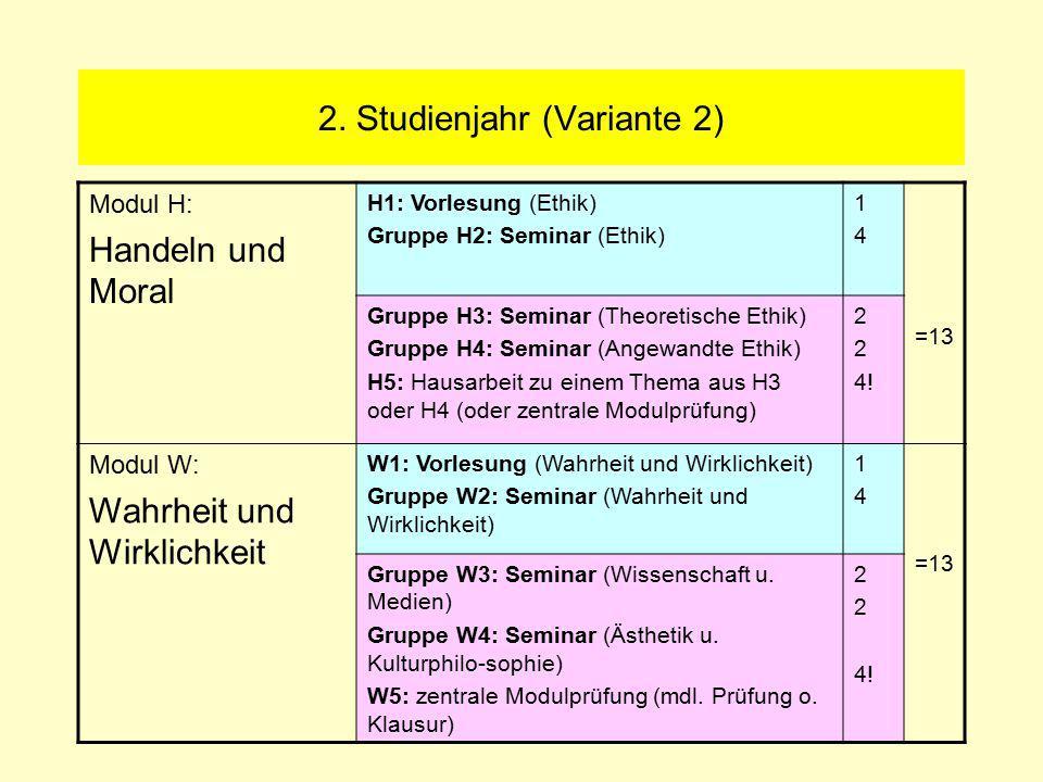 2. Studienjahr (Variante 2) Modul H: Handeln und Moral H1: Vorlesung (Ethik) Gruppe H2: Seminar (Ethik) 1414 =13 Gruppe H3: Seminar (Theoretische Ethi
