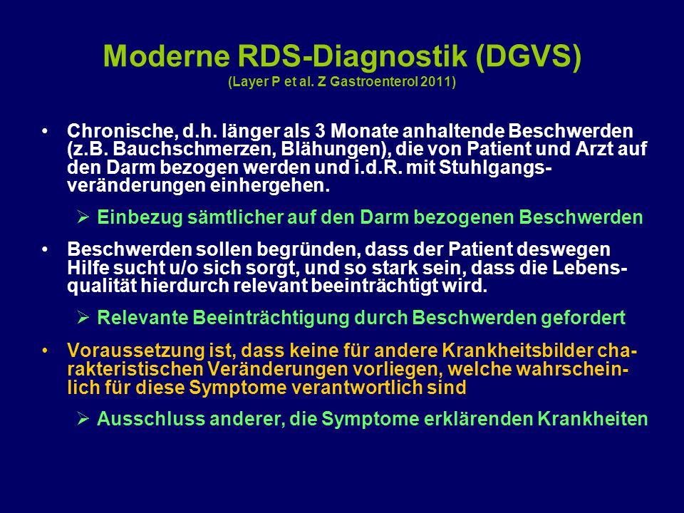 Moderne RDS-Diagnostik (DGVS) (Layer P et al. Z Gastroenterol 2011) Chronische, d.h. länger als 3 Monate anhaltende Beschwerden (z.B. Bauchschmerzen,