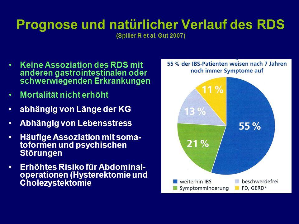 Prognose und natürlicher Verlauf des RDS (Spiller R et al. Gut 2007) Keine Assoziation des RDS mit anderen gastrointestinalen oder schwerwiegenden Erk