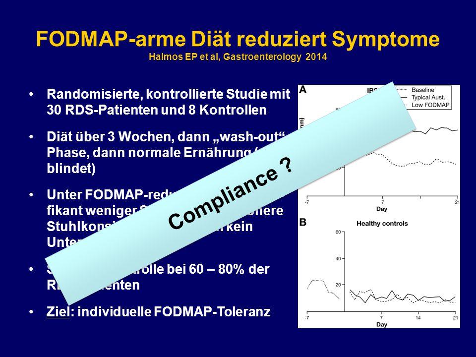 """FODMAP-arme Diät reduziert Symptome Halmos EP et al, Gastroenterology 2014 Randomisierte, kontrollierte Studie mit 30 RDS-Patienten und 8 Kontrollen Diät über 3 Wochen, dann """"wash-out - Phase, dann normale Ernährung (ver- blindet) Unter FODMAP-reduzierter Diät signi- fikant weniger Symptome und höhere Stuhlkonsistenz (Kontrollen kein Unterschied) Symptomkontrolle bei 60 – 80% der RDS-Patienten Ziel: individuelle FODMAP-Toleranz Compliance ?"""