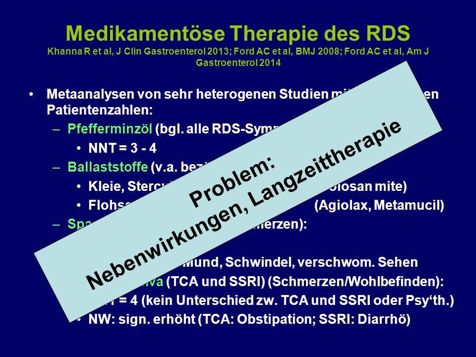 Medikamentöse Therapie des RDS Khanna R et al, J Clin Gastroenterol 2013; Ford AC et al, BMJ 2008; Ford AC et al, Am J Gastroenterol 2014 Metaanalysen