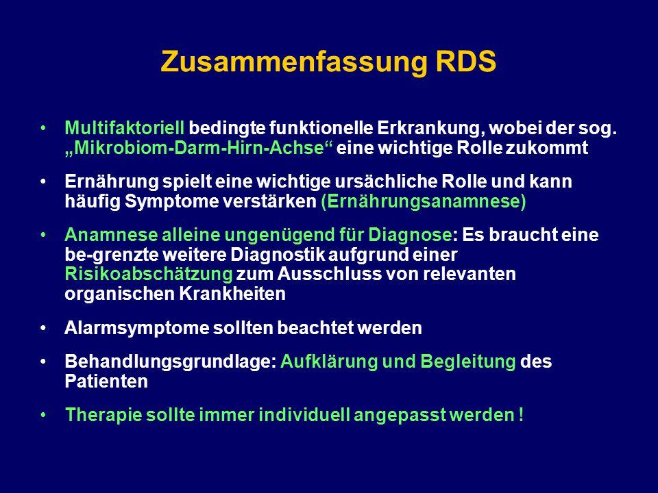 """Zusammenfassung RDS Multifaktoriell bedingte funktionelle Erkrankung, wobei der sog. """"Mikrobiom-Darm-Hirn-Achse"""" eine wichtige Rolle zukommt Ernährung"""