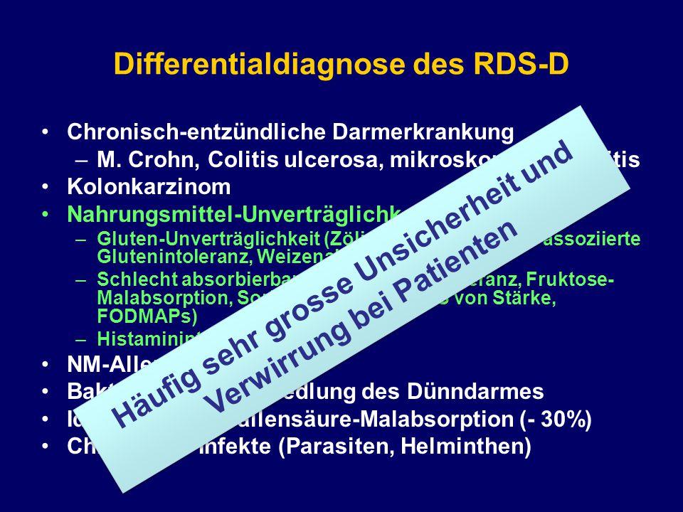 Differentialdiagnose des RDS-D Chronisch-entzündliche Darmerkrankung –M. Crohn, Colitis ulcerosa, mikroskopische Kolitis Kolonkarzinom Nahrungsmittel-