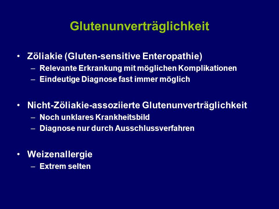 Glutenunverträglichkeit Zöliakie (Gluten-sensitive Enteropathie) –Relevante Erkrankung mit möglichen Komplikationen –Eindeutige Diagnose fast immer möglich Nicht-Zöliakie-assoziierte Glutenunverträglichkeit –Noch unklares Krankheitsbild –Diagnose nur durch Ausschlussverfahren Weizenallergie –Extrem selten
