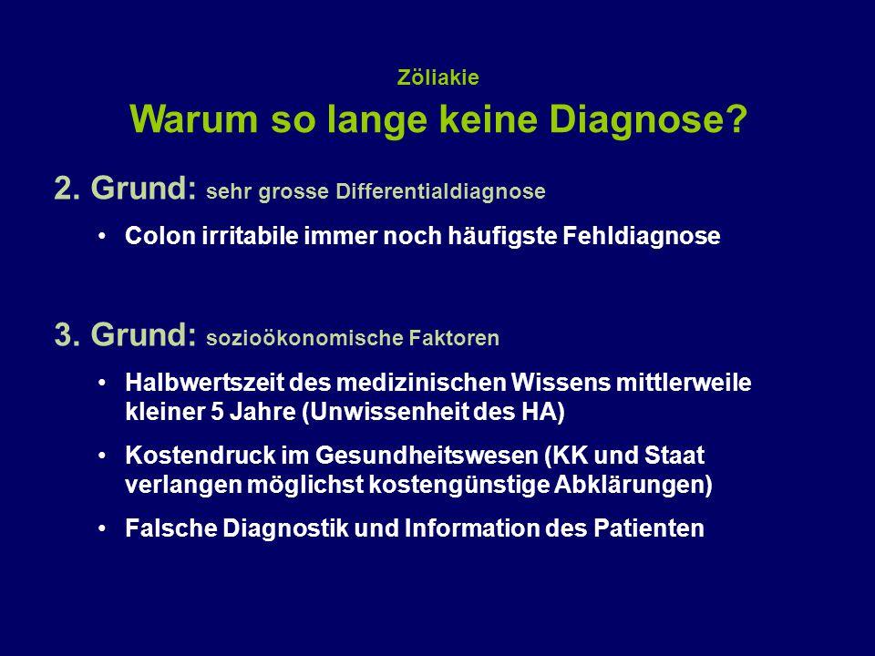 2. Grund: sehr grosse Differentialdiagnose Colon irritabile immer noch häufigste Fehldiagnose 3. Grund: sozioökonomische Faktoren Halbwertszeit des me