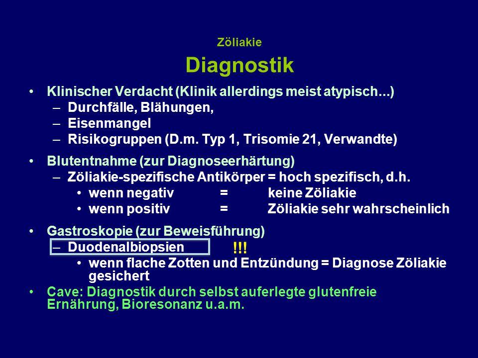 Klinischer Verdacht (Klinik allerdings meist atypisch...) –Durchfälle, Blähungen, –Eisenmangel –Risikogruppen (D.m. Typ 1, Trisomie 21, Verwandte) Blu