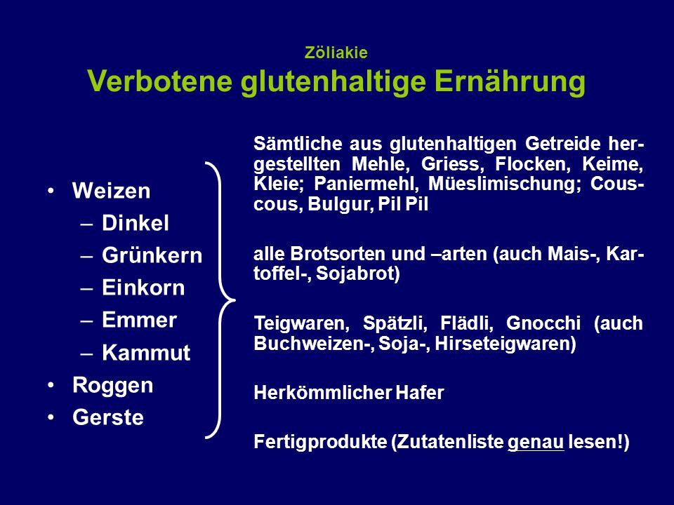 Weizen –Dinkel –Grünkern –Einkorn –Emmer –Kammut Roggen Gerste Zöliakie Verbotene glutenhaltige Ernährung Sämtliche aus glutenhaltigen Getreide her- gestellten Mehle, Griess, Flocken, Keime, Kleie; Paniermehl, Müeslimischung; Cous- cous, Bulgur, Pil Pil alle Brotsorten und –arten (auch Mais-, Kar- toffel-, Sojabrot) Teigwaren, Spätzli, Flädli, Gnocchi (auch Buchweizen-, Soja-, Hirseteigwaren) Herkömmlicher Hafer Fertigprodukte (Zutatenliste genau lesen!)