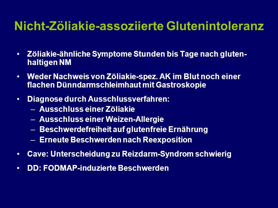 Nicht-Zöliakie-assoziierte Glutenintoleranz Zöliakie-ähnliche Symptome Stunden bis Tage nach gluten- haltigen NM Weder Nachweis von Zöliakie-spez.