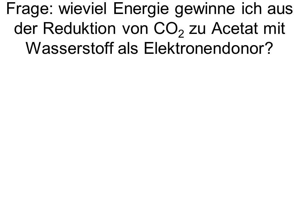 Frage: wieviel Energie gewinne ich aus der Reduktion von CO 2 zu Acetat mit Wasserstoff als Elektronendonor?