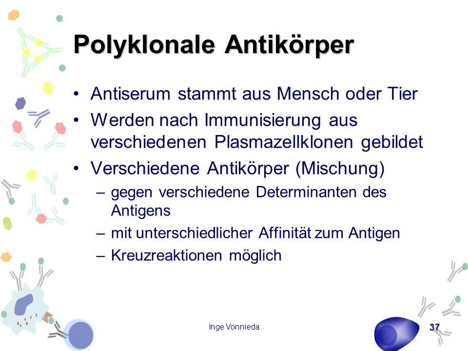 Inge Vonnieda 37 Polyklonale Antikörper Antiserum stammt aus Mensch oder Tier Werden nach Immunisierung aus verschiedenen Plasmazellklonen gebildet Ve