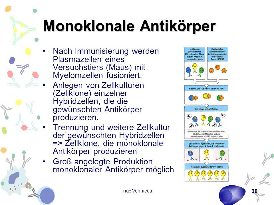 Inge Vonnieda 38 Monoklonale Antikörper Nach Immunisierung werden Plasmazellen eines Versuchstiers (Maus) mit Myelomzellen fusioniert. Anlegen von Zel