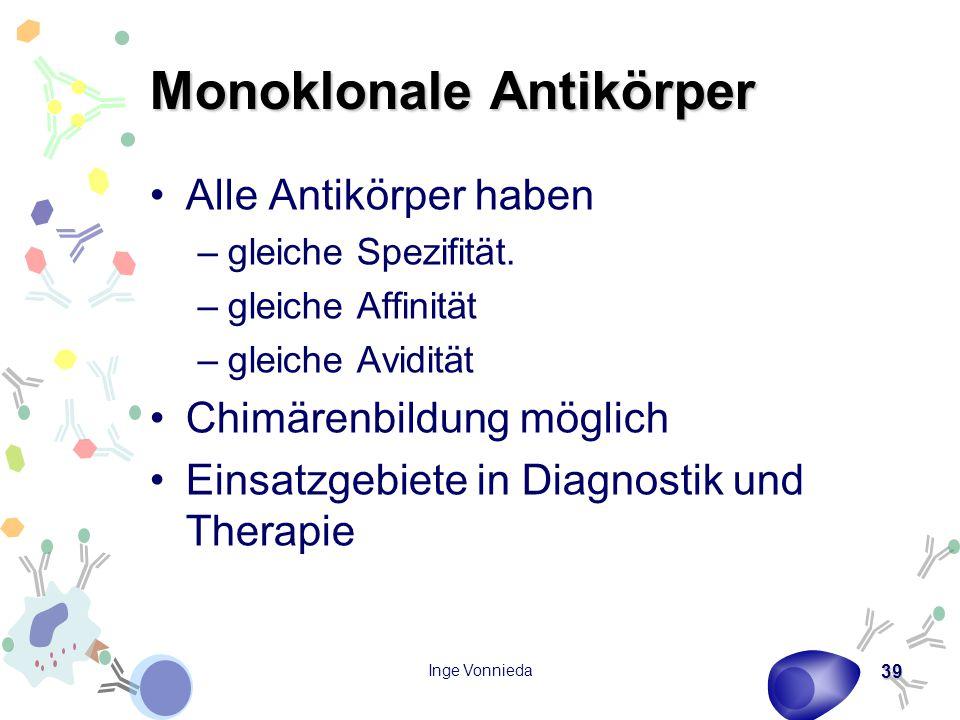 Inge Vonnieda 39 Monoklonale Antikörper Alle Antikörper haben –gleiche Spezifität. –gleiche Affinität –gleiche Avidität Chimärenbildung möglich Einsat