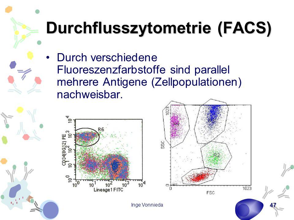 Inge Vonnieda 47 Durchflusszytometrie (FACS) Durch verschiedene Fluoreszenzfarbstoffe sind parallel mehrere Antigene (Zellpopulationen) nachweisbar.