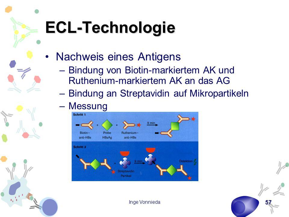 Inge Vonnieda 57 ECL-Technologie Nachweis eines Antigens –Bindung von Biotin-markiertem AK und Ruthenium-markiertem AK an das AG –Bindung an Streptavidin auf Mikropartikeln –Messung