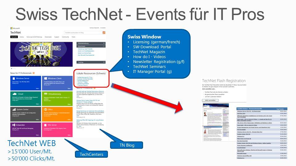 Swiss TechNet Events/Seminars TechNet Events H2 CY2014 Sep.