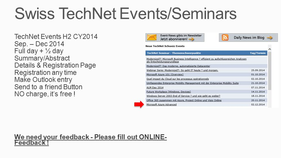 Swiss TechNet Events/Seminars TechNet Events H2 CY2014 Sep.
