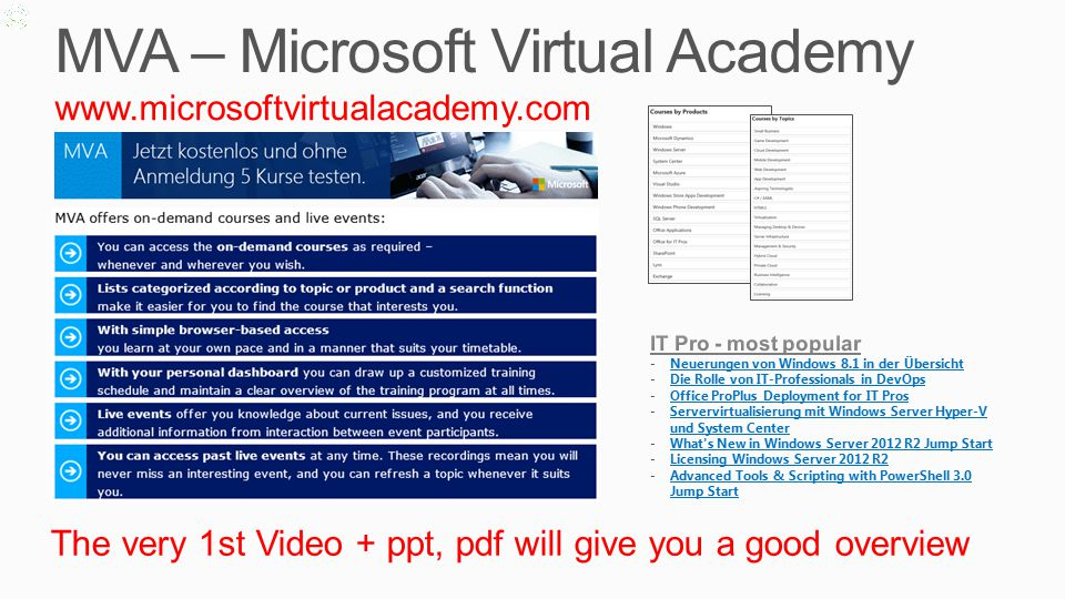 MVA – Microsoft Virtual Academy   The very 1st Video + ppt, pdf will give you a good overview