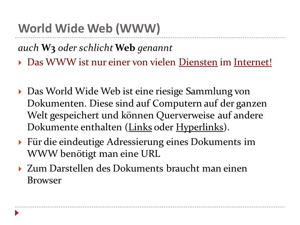 World Wide Web (WWW) auch W3 oder schlicht Web genannt  Das WWW ist nur einer von vielen Diensten im Internet.