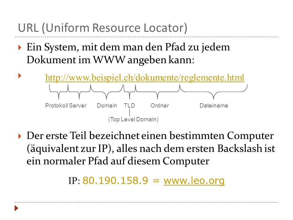  Ein System, mit dem man den Pfad zu jedem Dokument im WWW angeben kann:   Der erste Teil bezeichnet einen bestimmten Computer (äquivalent zur IP), alles nach dem ersten Backslash ist ein normaler Pfad auf diesem Computer IP: 80.190.158.9 = www.leo.org Protokoll Server Domain TLD Ordner Dateiname (Top Level Domain) http://www.beispiel.ch/dokumente/reglemente.html URL (Uniform Resource Locator)