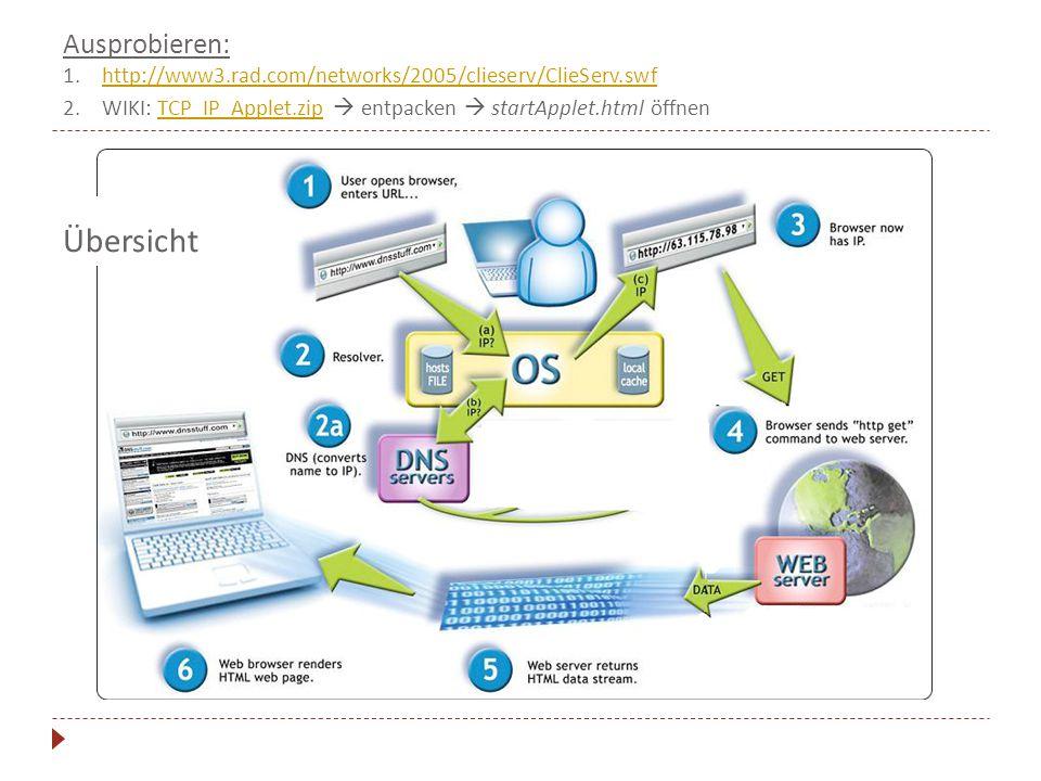 Ausprobieren: 1.http://www3.rad.com/networks/2005/clieserv/ClieServ.swfhttp://www3.rad.com/networks/2005/clieserv/ClieServ.swf 2.WIKI: TCP_IP_Applet.zip  entpacken  startApplet.html öffnenTCP_IP_Applet.zip Übersicht