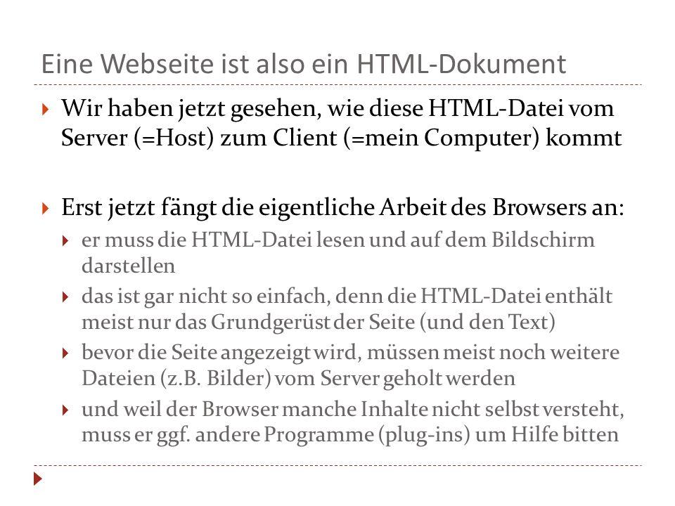 Eine Webseite ist also ein HTML-Dokument  Wir haben jetzt gesehen, wie diese HTML-Datei vom Server (=Host) zum Client (=mein Computer) kommt  Erst jetzt fängt die eigentliche Arbeit des Browsers an:  er muss die HTML-Datei lesen und auf dem Bildschirm darstellen  das ist gar nicht so einfach, denn die HTML-Datei enthält meist nur das Grundgerüst der Seite (und den Text)  bevor die Seite angezeigt wird, müssen meist noch weitere Dateien (z.B.