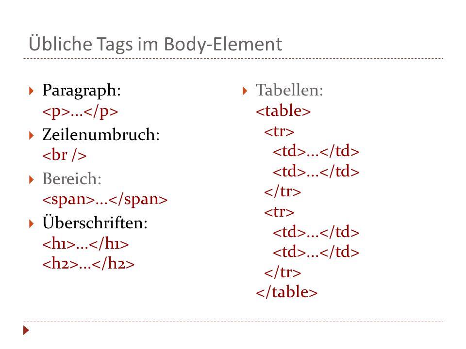 Übliche Tags im Body-Element  Paragraph:... Zeilenumbruch:  Bereich:...
