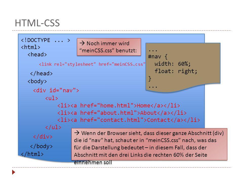 HTML-CSS Home About Contact Home About Contact  Noch immer wird meinCSS.css benutzt:  Wenn der Browser sieht, dass dieser ganze Abschnitt (div) die id nav hat, schaut er in meinCSS.css nach, was das für die Darstellung bedeutet – in diesem Fall, dass der Abschnitt mit den drei Links die rechten 60% der Seite einnehmen soll...
