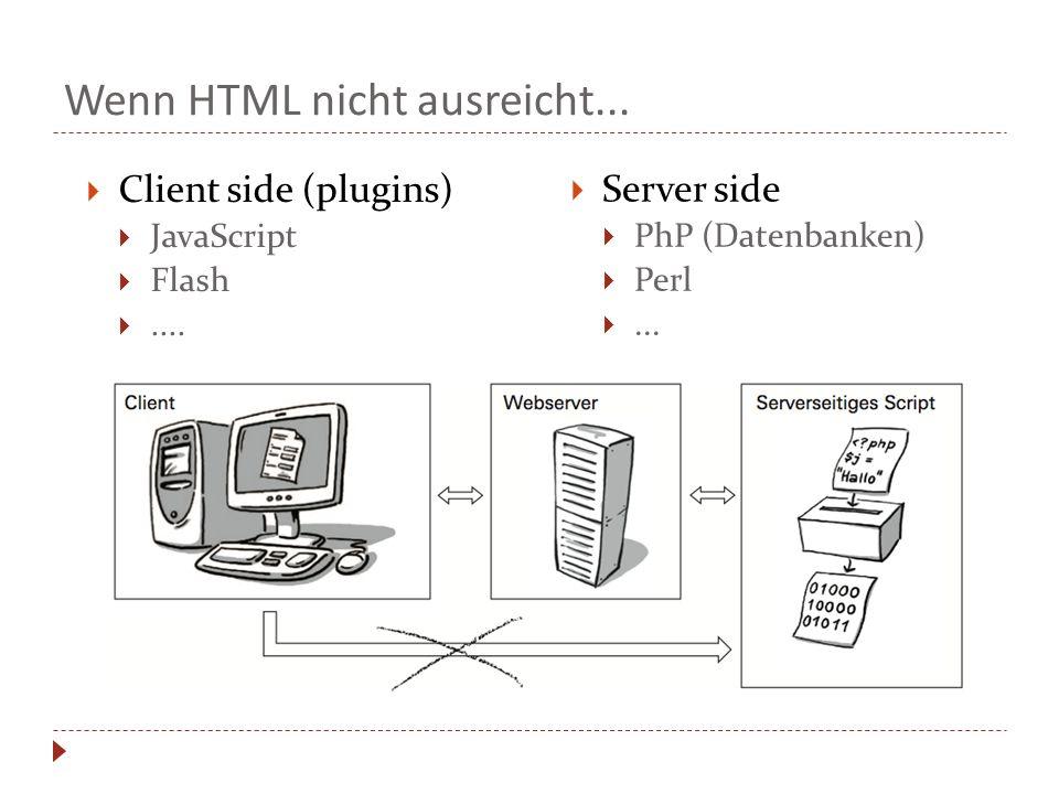 Wenn HTML nicht ausreicht... Client side (plugins)  JavaScript  Flash ....