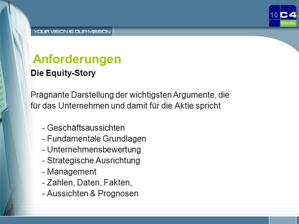 28.03.2015 10 Anforderungen Die Equity-Story Prägnante Darstellung der wichtigsten Argumente, die für das Unternehmen und damit für die Aktie spricht