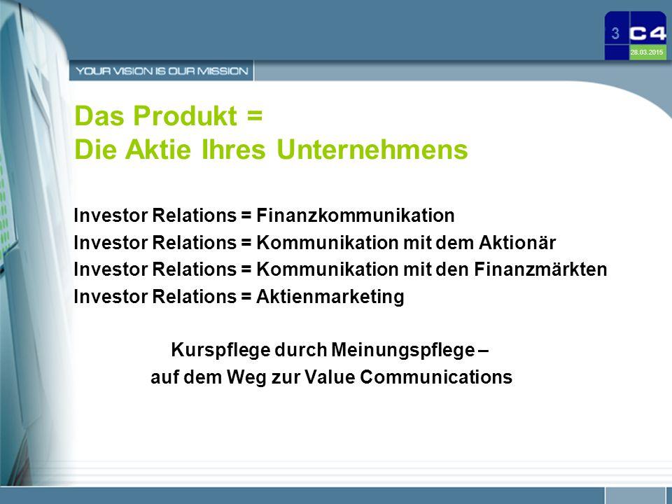 28.03.2015 3 Das Produkt = Die Aktie Ihres Unternehmens Investor Relations = Finanzkommunikation Investor Relations = Kommunikation mit dem Aktionär I