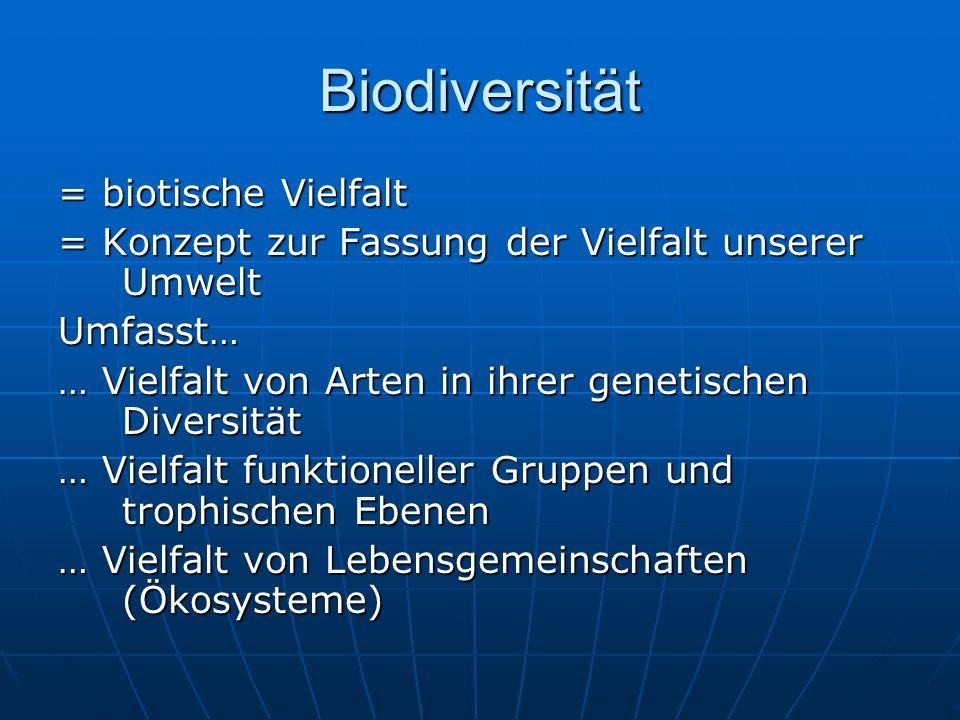 Biodiversität = biotische Vielfalt = Konzept zur Fassung der Vielfalt unserer Umwelt Umfasst… … Vielfalt von Arten in ihrer genetischen Diversität … V