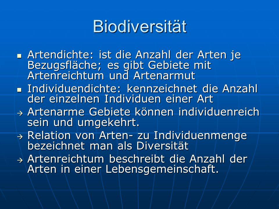 Artendichte: ist die Anzahl der Arten je Bezugsfläche; es gibt Gebiete mit Artenreichtum und Artenarmut Artendichte: ist die Anzahl der Arten je Bezug