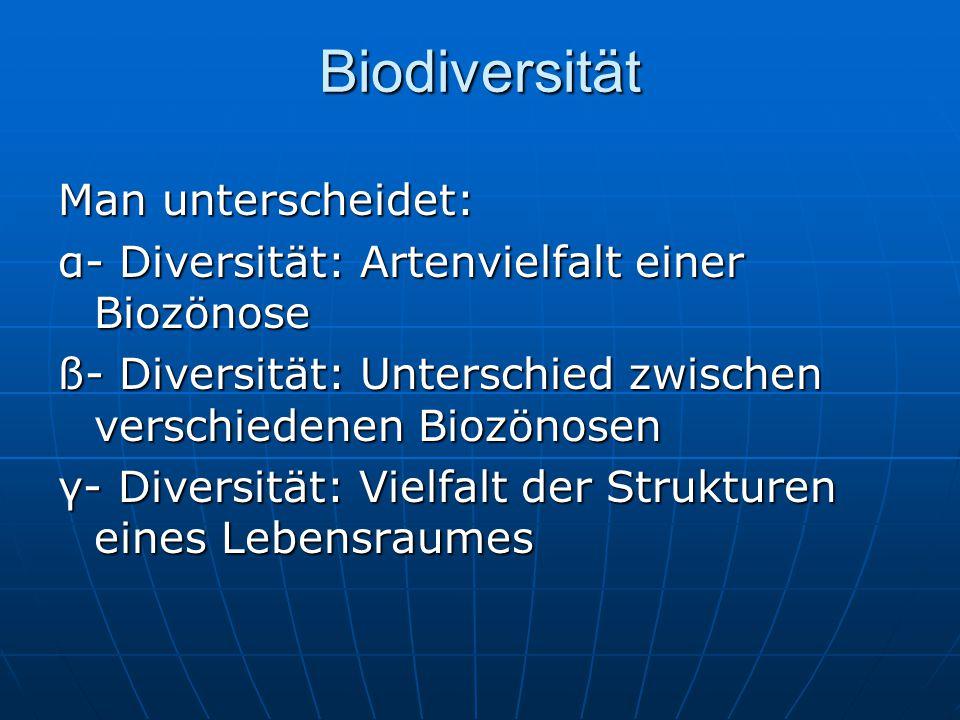Biodiversität Man unterscheidet: α- Diversität: Artenvielfalt einer Biozönose ß- Diversität: Unterschied zwischen verschiedenen Biozönosen γ- Diversit