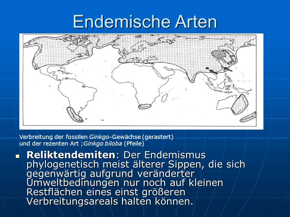 Endemische Arten Reliktendemiten: Der Endemismus phylogenetisch meist älterer Sippen, die sich gegenwärtig aufgrund veränderter Umweltbedinungen nur n
